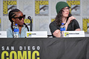 """Estelle and Rebecca Sugar speak at the """"Steven Universe"""" Panel during 2019 Comic-Con International at San Diego Convention Center on July 19, 2019 in San Diego, California."""