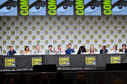 Clark Gregg, Candice Patton, Caity Lotz, Ben Feldman, Lauren Ash, Matt Davis, Yetide Badaki, Brittany Curran, William Jackson Harper, and Elia Taylor speak at the TV Guide Magazine Fan Favorites 2019 during 2019 Comic-Con International at San Diego Convention Center on July 19, 2019 in San Diego, California.