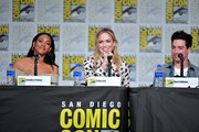 Candice Patton, Caity Lotz, and Ben Feldman speak at the TV Guide Magazine Fan Favorites 2019 during 2019 Comic-Con International at San Diego Convention Center on July 19, 2019 in San Diego, California.