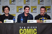 (L-R) Geoffrey Arend, Sean Maher, Jason O'Mara speak during the World Premiere Of 'Batman: Hush' during 2019 Comic-Con International at San Diego Convention Center on July 19, 2019 in San Diego, California.