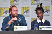 Ryan Hansen and Kirby Howell-Baptiste speak at the World Premiere: Hulu's 'Veronica Mars' Revival panel during 2019 Comic-Con International at San Diego Convention Center on July 19, 2019 in San Diego, California.