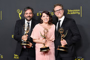 Adam Schlesinger, Rachel Bloom and Jack Dolgen pose with the Outstanding Original Music and Lyrics Award for 'Crazy Ex-Girlfriend' in the press room during the 2019 Creative Arts Emmy Awards on September 14, 2019 in Los Angeles, California.