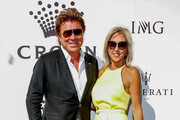 Richard Wilkins and Virginia Burmeister arrives at the 2019 Crown IMG Tennis Party at Crown Entertainment Complex on January 13, 2019 in Melbourne, Australia.
