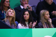 (L-R) Ana Maria Parera, mother of Rafael Nadal, Xisca Perello, wife of Rafael Nadal and Maria Isabel Nadal, sister of Rafael Nadal of Spain watch the singles final match between Felix Auger-Aliassime of Canada and Roberto Bautista Agut of Spain during Day Seven of the 2019 Davis Cup at La Caja Magica on November 24, 2019 in Madrid, Spain.