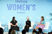 Amanda Nguyen, Halima Aden and Ashley Graham speak at the 2019 Forbes Women's Summit at Pier 60 on June 18, 2019 in New York City.