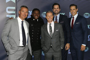 NEW YORK, NY  MAY 13: (L-R) Urban Meyer, Reggie Bush, Rob Stone, Matt Leinart and Brady Quinn attend the 2019 FOX Upfront at Wollman Rink, Central Park on May 13, 2019 in New York City.