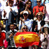 Fans wave a Spanish flag in support of Rafael Nadal of Spain ahead of his mens singles final against Dominic Thiem of Austria  during Day fifteen of the 2019 French Open at Roland Garros on June 09, 2019 in Paris, France.