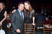 Michael J. Fox and Julianne Moore speaks on stage at A Funny Thing Happened On The Way To Cure Parkinson's benefitting The Michael J. Fox Foundation on November 16, 2019 in New York City.