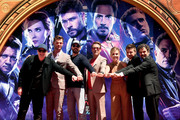 """Retransmission with alternate crop.) Marvel Studios' """"Avengers: Endgame"""" stars President of Marvel Studios/Producer Kevin Feige, Chris Hemsworth, Chris Evans, Robert Downey Jr., Scarlett Johansson, Jeremy Renner and Mark Ruffalo at the Hand And Footprint Ceremony at the TCL Chinese Theatre on April 23, 2019 in Hollywood, California."""