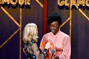 Tory Burch and Danai Gurira speaks onstage at the 2019 Glamour Women Of The Year Awards at Alice Tully Hall on November 11, 2019 in New York City.