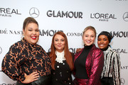 (L-R) Britney Young, Glamour Editor in Chief Samantha Barry, Iskra Lawrence and Halima Aden attends the 2019 Glamour Women Of The Year Summit at Alice Tully Hall on November 10, 2019 in New York City.