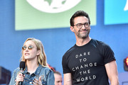 Rachel Brosnahan and Hugh Jackman speak onstage during the 2019 Global Citizen Festival: Power The Movement in Central Park on September 28, 2019 in New York City.