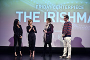 "(L-R) Kathrine Narducci, Stephanie Kurtzuba, Jane Rosenthal and David Nugent speak on stage during Jane Rosenthal ""The Irishman"" Reception at the 2019 Hamptons International Film Festival on October 11, 2019 in East Hampton, New York."