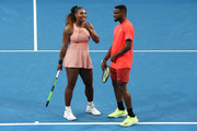 Serena Williams and Frances Tiafoe of the United States share a moment in the mixed doubles match against Maria Sakkari and TS during day three of the 2019 Hopman Cup at RAC Arena on December 31, 2018 in Perth, Australia.
