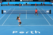 Serena Williams of the United States serves in the mixed match against Maria Sakkari and TS during day three of the 2019 Hopman Cup at RAC Arena on December 31, 2018 in Perth, Australia.