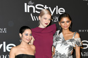 (L-R) Alexa Demie, Hunter Schafer, and Zendaya attend the Fifth Annual InStyle Awards at The Getty Center on October 21, 2019 in Los Angeles, California.