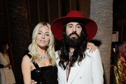 (L-R) Sienna Miller and Alessandro Michele, all wearing Gucci, attend the 2019 LACMA Art + Film Gala Presented By Gucci at LACMA on November 02, 2019 in Los Angeles, California.