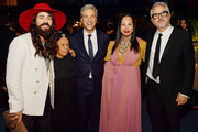(L-R) Alessandro Michele, Betye Saar, LACMA CEO & Director Michael Govan, LACMA Trustee Eva Chow, and Alfonso Cuarón, all wearing Gucci, attend the 2019 LACMA Art + Film Gala Presented By Gucci at LACMA on November 02, 2019 in Los Angeles, California.