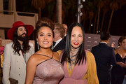 Salma Hayek Pinault (L) and Eva Chow, both wearing Gucci, attend the 2019 LACMA Art + Film Gala Presented By Gucci at LACMA on November 02, 2019 in Los Angeles, California.
