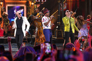 (L-R) Pitbull, Ne-Yo and Lenier perform onstage during the 2019 Latin American Music Awards at Dolby Theatre on October 17, 2019 in Hollywood, California.