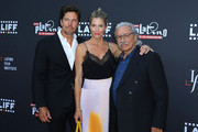 (L-R) Actors Jamie Bamber, Tricia Helfer, and Edward James Olmos attend the 2019 Los Angeles Latino International Film Festival - Opening Night Premiere of 'The Infiltrators' at TCL Chinese Theatre on July 31, 2019 in Hollywood, California.