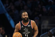 James Harden #13 of the Houston Rockets and Team LeBron dribbles as they take on Team Giannis during the NBA All-Star game as part of the 2019 NBA All-Star Weekend at Spectrum Center on February 17, 2019 in Charlotte, North Carolina. Team LeBron won 178-164. NOTE TO USER: User expressly acknowledges and agrees that, by downloading and/or using this photograph, user is consenting to the terms and conditions of the Getty Images License Agreement.