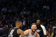 Blake Griffin #23 of the Detroit Pistons and Team Giannis drives against Damian Lillard #0 of the Portland Trail Blazers and Team LeBron in the fourth quarter during the NBA All-Star game as part of the 2019 NBA All-Star Weekend at Spectrum Center on February 17, 2019 in Charlotte, North Carolina. Team LeBron won 178-164. NOTE TO USER: User expressly acknowledges and agrees that, by downloading and/or using this photograph, user is consenting to the terms and conditions of the Getty Images License Agreement. Mandatory Copyright Notice: Copyright 2019 NBAE