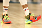 A detail view of Russell Westbrook #0 of the Oklahoma City Thunder and Team Giannis shoes during the NBA All-Star game as part of the 2019 NBA All-Star Weekend at Spectrum Center on February 17, 2019 in Charlotte, North Carolina.  NOTE TO USER: User expressly acknowledges and agrees that, by downloading and/or using this photograph, user is consenting to the terms and conditions of the Getty Images License Agreement.