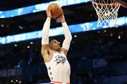Russell Westbrook #0 of the Oklahoma City Thunder and Team Giannis dunks against Team LeBron in the fourth quarter during the NBA All-Star game as part of the 2019 NBA All-Star Weekend at Spectrum Center on February 17, 2019 in Charlotte, North Carolina. Team LeBron won 178-164. NOTE TO USER: User expressly acknowledges and agrees that, by downloading and/or using this photograph, user is consenting to the terms and conditions of the Getty Images License Agreement. Mandatory Copyright Notice: Copyright 2019 NBAE