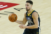 Klay Thompson #11 of the Golden State Warriors handles the ball on offense against the Toronto Raptors in the second half during Game Four of the 2019 NBA Finals at ORACLE Arena on June 07, 2019 in Oakland, California. NOTE TO USER: User expressly acknowledges and agrees that, by downloading and or using this photograph, User is consenting to the terms and conditions of the Getty Images License Agreement.
