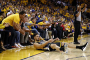 Klay Thompson #11 of the Golden State Warriors reacts against the Toronto Raptors in the first half during Game Six of the 2019 NBA Finals at ORACLE Arena on June 13, 2019 in Oakland, California. NOTE TO USER: User expressly acknowledges and agrees that, by downloading and or using this photograph, User is consenting to the terms and conditions of the Getty Images License Agreement.