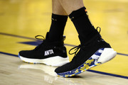 A detailed view of the shoes worn by Klay Thompson #11 of the Golden State Warriors in the first half against the Toronto Raptors during Game Six of the 2019 NBA Finals at ORACLE Arena on June 13, 2019 in Oakland, California. NOTE TO USER: User expressly acknowledges and agrees that, by downloading and or using this photograph, User is consenting to the terms and conditions of the Getty Images License Agreement.