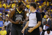 Draymond Green #23 of the Golden State Warriors argues with the referee in the second half against the Toronto Raptors during Game Six of the 2019 NBA Finals at ORACLE Arena on June 13, 2019 in Oakland, California. NOTE TO USER: User expressly acknowledges and agrees that, by downloading and or using this photograph, User is consenting to the terms and conditions of the Getty Images License Agreement.