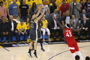 Klay Thompson #11 of the Golden State Warriors attempts a shot against Pascal Siakam #43 of the Toronto Raptors in the first half during Game Six of the 2019 NBA Finals at ORACLE Arena on June 13, 2019 in Oakland, California. NOTE TO USER: User expressly acknowledges and agrees that, by downloading and or using this photograph, User is consenting to the terms and conditions of the Getty Images License Agreement.