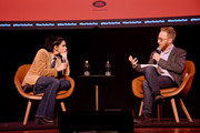 Sarah Silverman (L) talks with Andrew Marantz at the 2019 New Yorker Festival on October 12, 2019 in New York City.