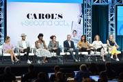 (L-R) Ashely Tisdale, Jean-Luc Bilodeau, Ito Aghayere, Patricia Heaton, Kyle MacLachlan, Sabrina Jalees, Emily Halpern and Sarah Haskins of Carol's Second Act speak during the CBS segment of the 2019 Summer TCA Press Tour at The Beverly Hilton Hotel on August 1, 2019 in Beverly Hills, California.