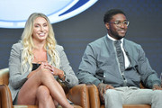 Charlotte Flair and Reggie Bush of Fox Sports speak during the Fox segment of the 2019 Summer TCA Press Tour at The Beverly Hilton Hotel on August 7, 2019 in Beverly Hills, California.