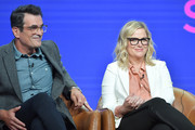 "Ty Burrell and Amy Poehler of ""Bless the Harts"" and ""Duncanville"" speak during the Fox segment of the 2019 Summer TCA Press Tour at The Beverly Hilton Hotel on August 7, 2019 in Beverly Hills, California."