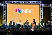 (L-R) Executive producer Michael Schur, Ted Danson, Kristen Bell, William Jackson Harper, Jameela Jamil, D'Arcy Carden, and Manny Jacinto of 'The Good Place' speak during the NBC segment of the 2019 Summer TCA Press Tour at The Beverly Hilton Hotel on August 08, 2019 in Beverly Hills, California.