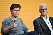 (L-R) Executive producer Michael Schur and Ted Danson of 'The Good Place' speak during the NBC segment of the 2019 Summer TCA Press Tour at The Beverly Hilton Hotel on August 08, 2019 in Beverly Hills, California.