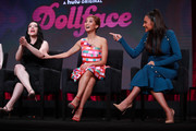 (L-R) Kat Dennings, Brenda Song and Shay Mitchell of 'Dollface' speak onstage during the Hulu segment of the Summer 2019 Television Critics Association Press Tour at The Beverly Hilton Hotel on July 26, 2019 in Beverly Hills, California.