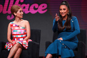 Brenda Song and Shay Mitchell of 'Dollface' speak onstage during the Hulu segment of the Summer 2019 Television Critics Association Press Tour at The Beverly Hilton Hotel on July 26, 2019 in Beverly Hills, California.