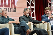 Edward James Olmos, Esai Morales and Oskar Eustis of Raul Julia: The World's a Stage speak during the PBS segment of the Summer 2019 Television Critics Association Press Tour 2019 at The Beverly Hilton Hotel on July 30, 2019 in Beverly Hills, California.
