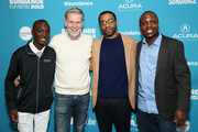 "Maxwell Simba, Reed Hastings, Chiwetel Ejiofor and William Kamkwamba attend ""The Boy Who Harnessed The Wind"" Premiere during the 2019 Sundance Film Festival at The Ray on January 26, 2019 in Park City, Utah."