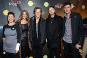 (L-R) Alex Melnyk, Kate Maloney Kevin Bacon, a guest and Michael Shaun Conaway attend the WeRiseUP Launch Event With Kevin Bacon during the 2019 Sundance Film Festival at TAO Nightclub on January 27, 2019 in Park City, Utah.