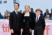 """(L-R) Ansel Elgort, Nicole Kidman and Oakes Fegley attend """"The Goldfinch"""" premiere during the 2019 Toronto International Film Festival at Roy Thomson Hall on September 08, 2019 in Toronto, Canada."""
