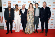 "(L-R) Peter Sarsgaard, Betty Gabriel, Marc Meyers, Maya Hawke, Alex Wolff, and Liev Schreiber attend the ""Human Capital"" premiere during the 2019 Toronto International Film Festival at Ryerson Theatre on September 10, 2019 in Toronto, Canada."