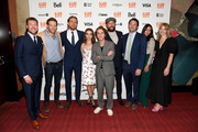 "(L-R) Ryan Stowell, Fran Kranz, Charlie Hunnam, Jessica Barden, Max Winkler, Brad Feinstein, Theodore Bressman, Xenia Siamas, and Allison Margaret Reid attend the ""Jungleland"" photo call during the 2019 Toronto International Film Festival at Princess of Wales Theatre on September 12, 2019 in Toronto, Canada."