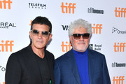 """(L-R) Antonio Banderas and Pedro Almodovar attend the """"Pain And Glory"""" premiere during the 2019 Toronto International Film Festival at Ryerson Theatre on September 06, 2019 in Toronto, Canada."""