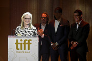 Gary Oldman, Shamier Anderson and Antonio Banderas present the TIFF Tribute Actor Award to Meryl Streep (L) during the 2019 Toronto International Film Festival TIFF Tribute Gala at The Fairmont Royal York Hotel on September 09, 2019 in Toronto, Canada.